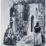 358 - Césarée, intérieur arménien, avec, à droite, une jeune fille portant la coiffe traditionnelle faite de multiples nattes qu'un objet maintient en éventail dans le dos (ibidem, p. 453).